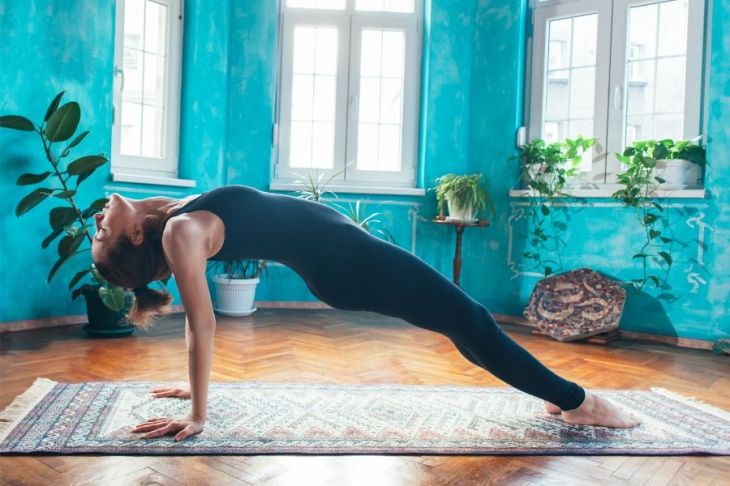 Reverse Plank pose strengthens your core to help build self-confidence.