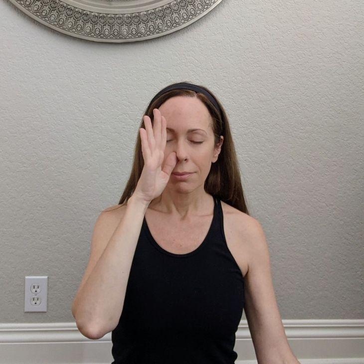 Alternate nostril breathing is a yoga practice that supports gut health, relaxation, and stress relief.