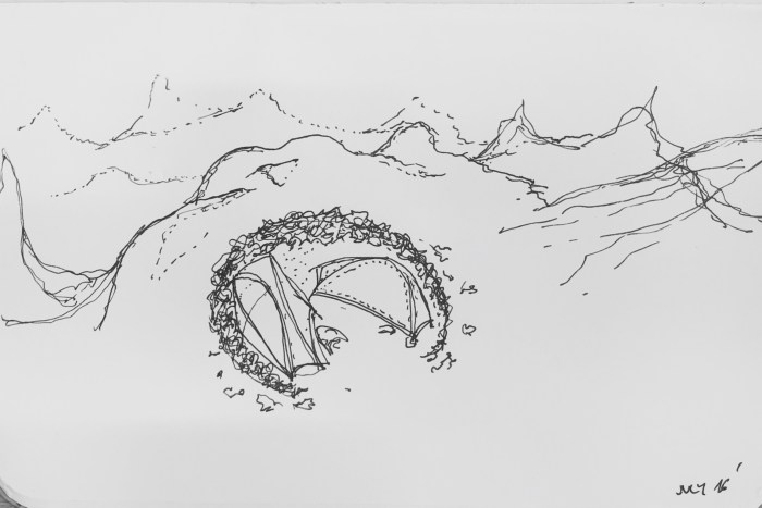 Laugavegur tent drawing with surrounding mountains