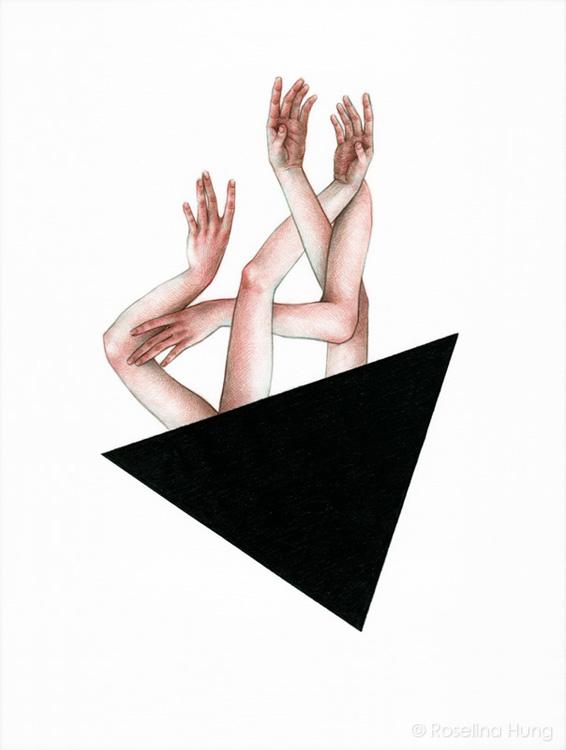 "Roselina Hung - Gemini, coloured pencil on paper, 11"" x 14"" (2013)"