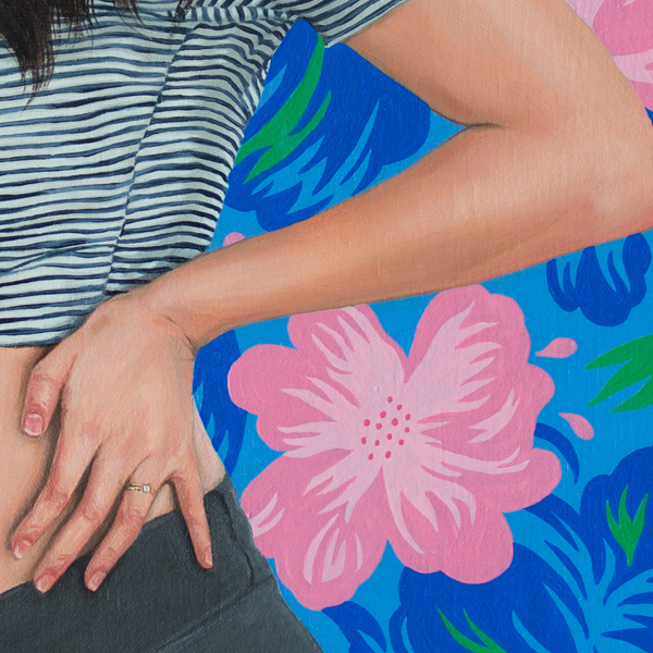 Roselina Hung, Rosy at 6 Months (detail), Oil on wood panel, 6.5 x 12 in, 2016