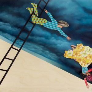 Snakes & Ladders (Orpheus & Eurydice), Oil on wood panel, 36 x 24 in, 2013