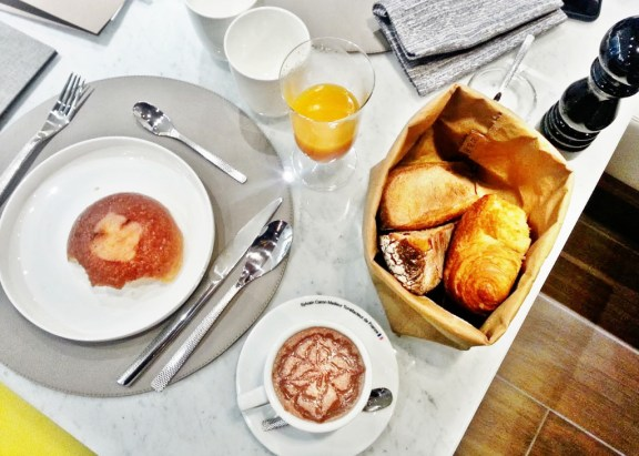 Breakfast at the Renaissance Paris Republique Hotel.