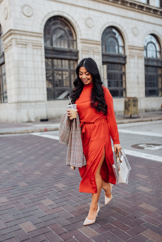 orange-midi-dress
