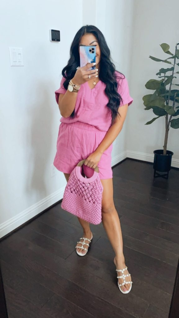 pink two piece set
