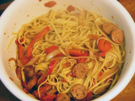 Onions, Peppers and Sausage Over Linguine (3)