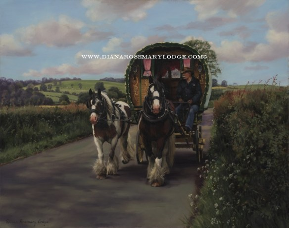 Gypsy wagon paintings by Rosemary Lodge