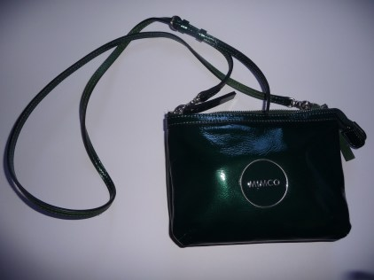 Mimco Hip Bag front view dark green patent