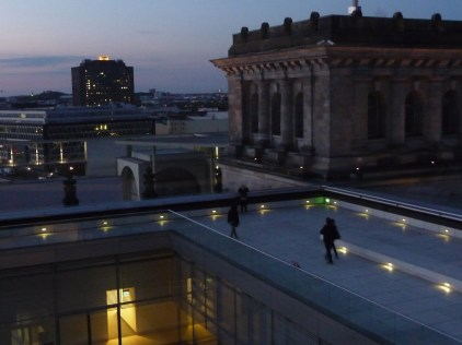 Looking across the Reichstag building from the glass dome