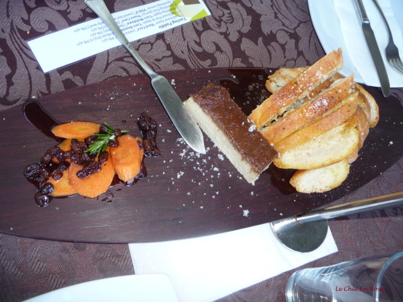 Farmhouse rabbit and fig pate with pickled carrot, red wine sultanas, Turkish bread and EVOO