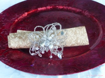 Individually wrapped napkins with crystal napkin holder