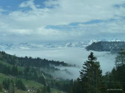 The valley was hidden by mist