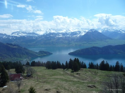 Starting the cable car descent from Rigi Kaltbad view of Lake Lucerne