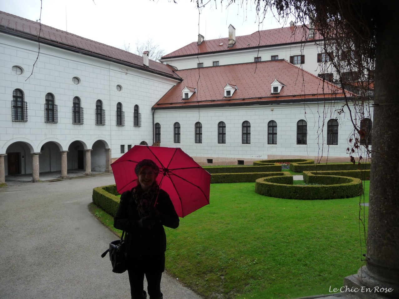 """The umbrella that I had purchased earlier in the day in Innsbruck got a good workout. Umbrella is """"Regenschirm"""" in German. I did have to ask for one in faltering German!"""