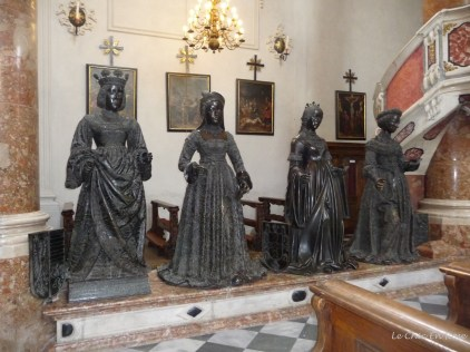 Some of the rather oppressive looking statues that surround Maximilian's tomb Hofkirche Innsbruck