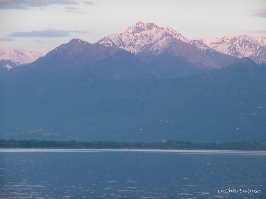 Sun setting over Lake Maggiore - the mountains took on a pinkish hue