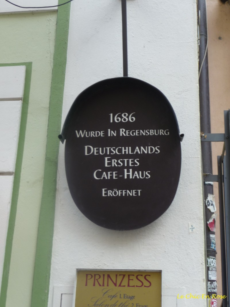 Cafe Prinzess Regensburg - the first coffee house in Germany. It was opened in 1686 in the Rathausplatz.