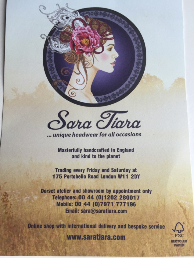 Sara Tiara Portobello Road Notting Hill - business flyer