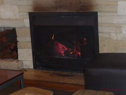 Fire blazing at Gnarabar Restaurant near Margaret River Western Australia