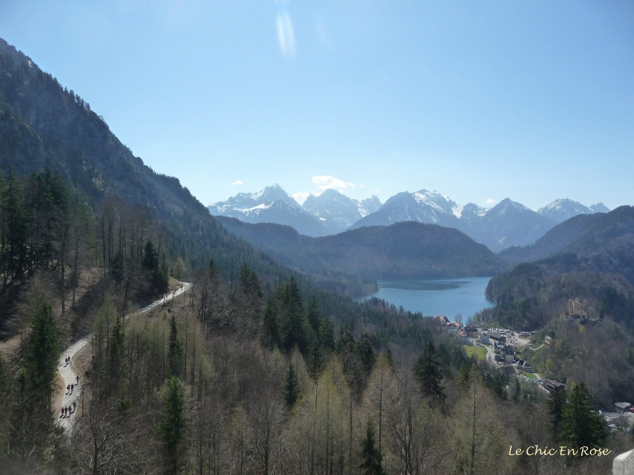View from the Neuschwanstein balcony here looking down on the Hohenschwangau Village and Castle