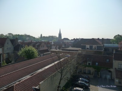 View from our top floor room at the Tuilerieen Hotel - Church Of Our Lady in the background