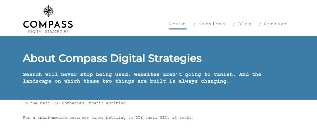 Copywriting Case Study - Compass Digital Strategies About Page by Rose Crompton