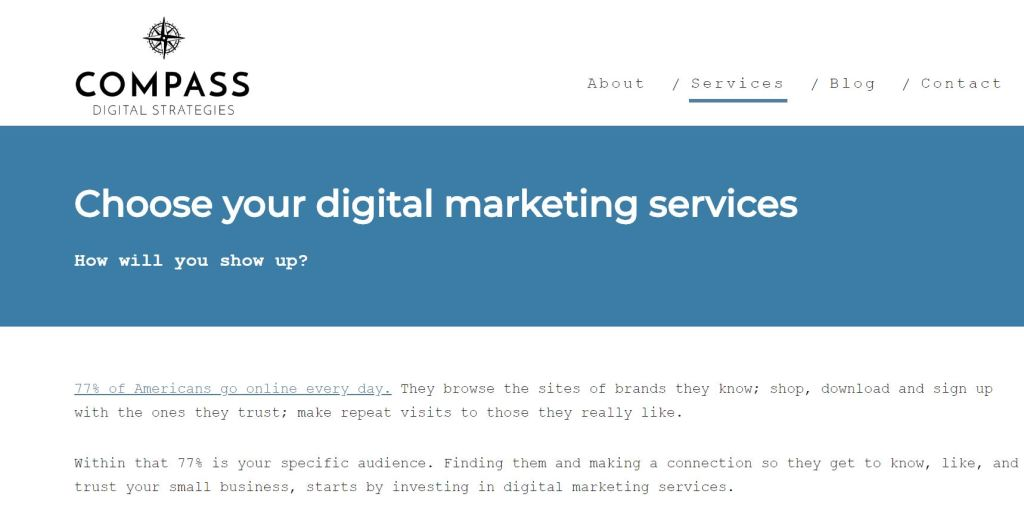 Copywriting Case Study - Compass Digital Strategies Services page written by Rose Crompton