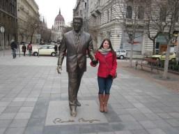 Ronald Reagan statue in Budapest..