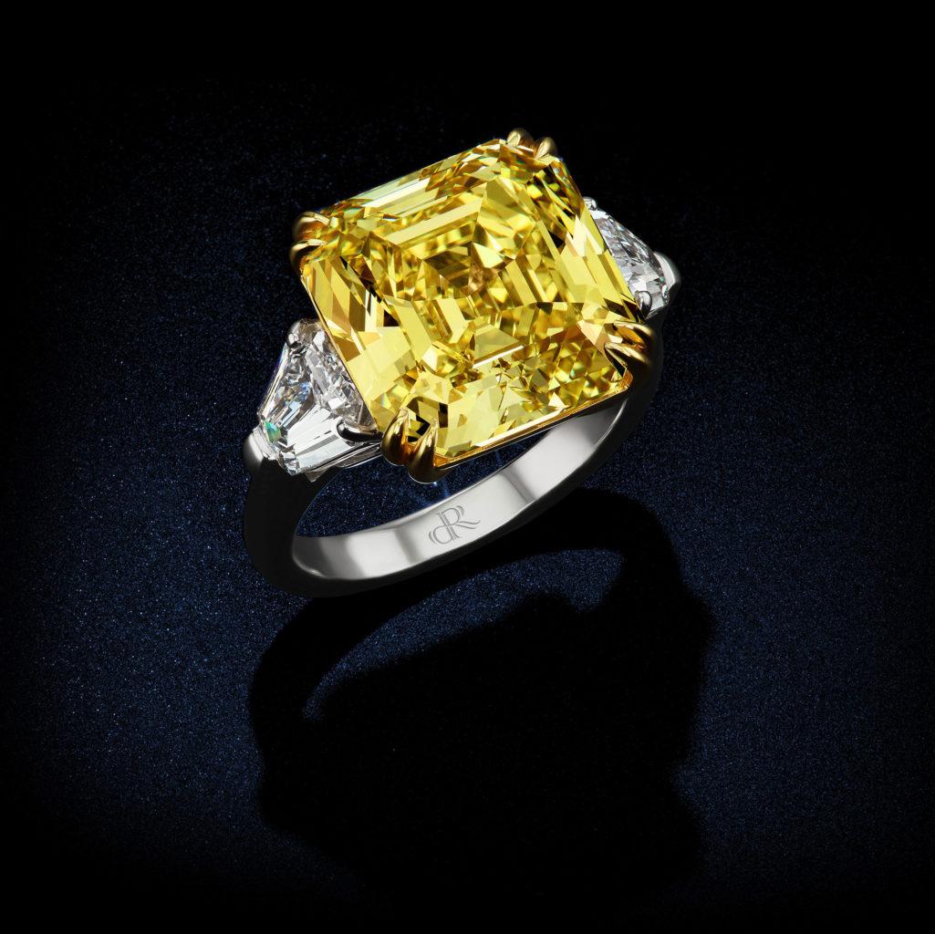 1168 Carat Fancy Vivid Yellow VVS2 Asscher Diamond Ring