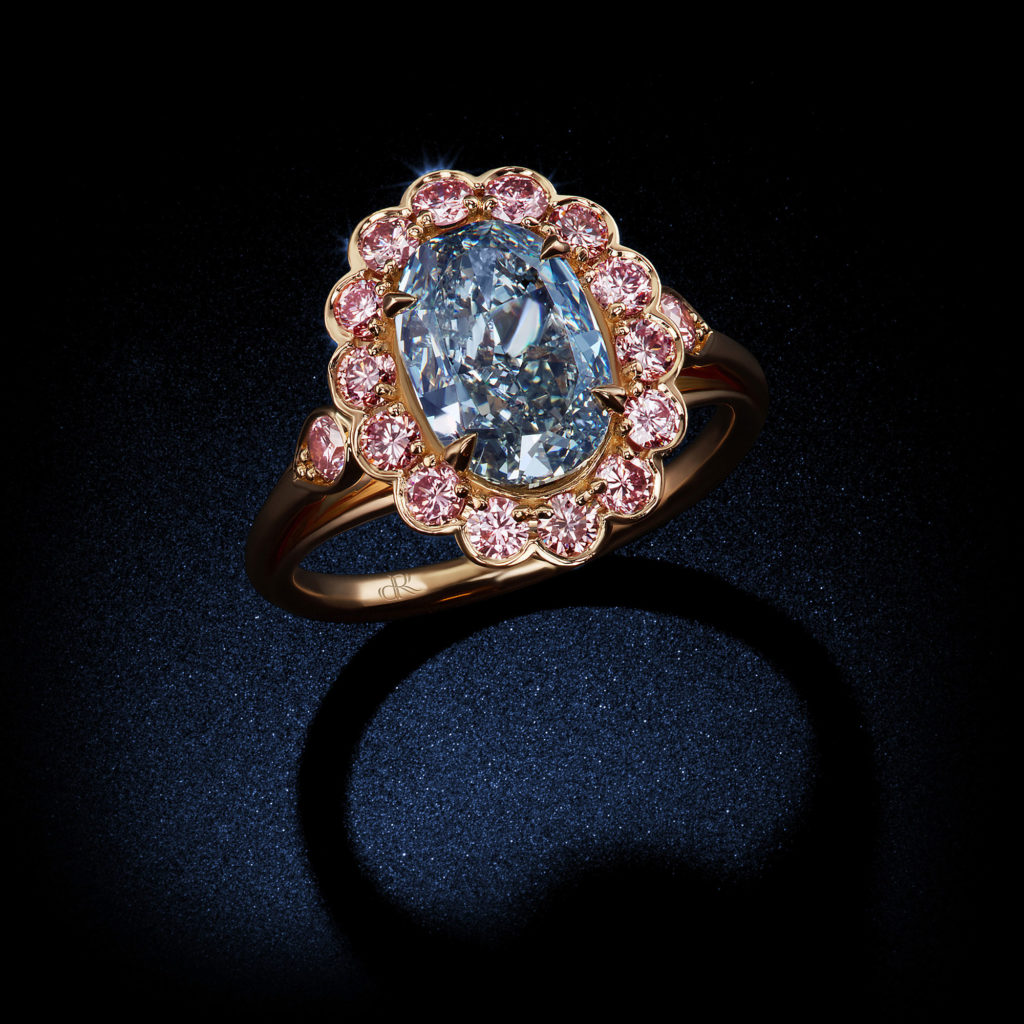 372 Carat Fancy Vivid Blue VVS2 Oval Shape Diamond Ring