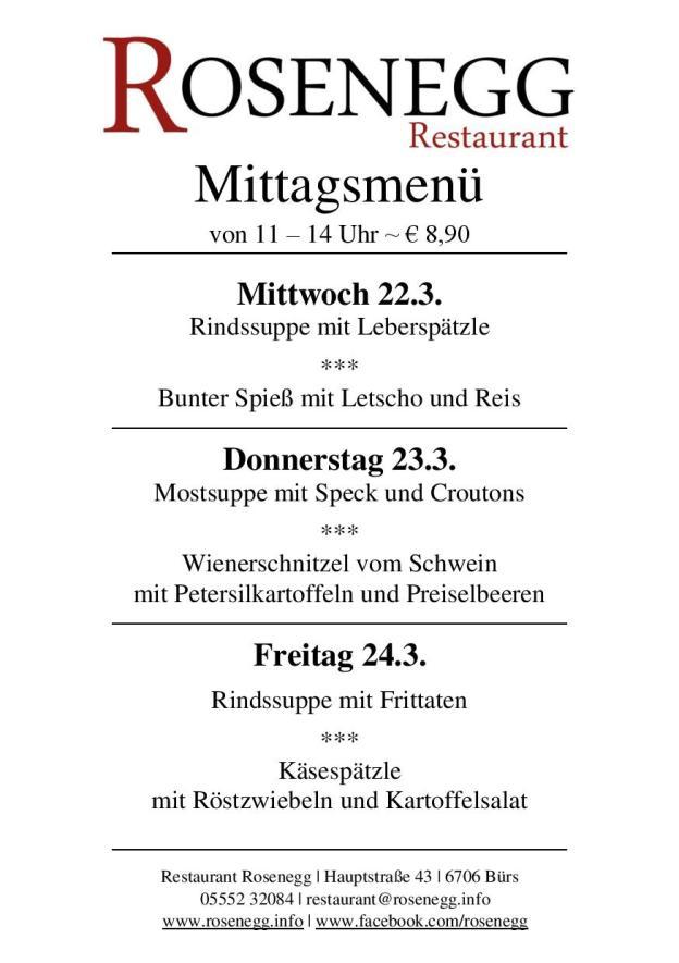 Mittagsmen KW 12  Restaurant Rosenegg Brs