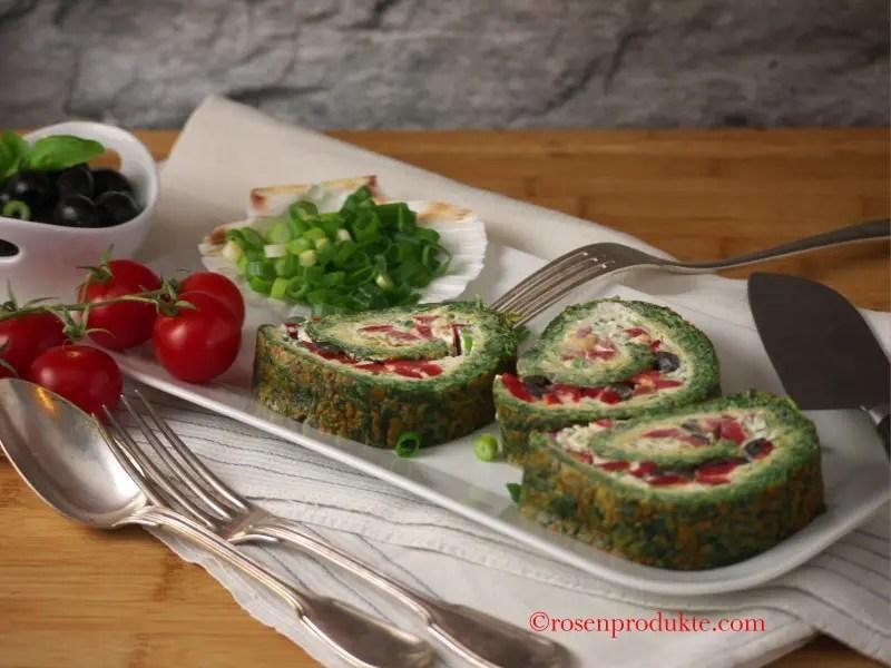 Bärlauch Frittata mit Paprika gefüllt