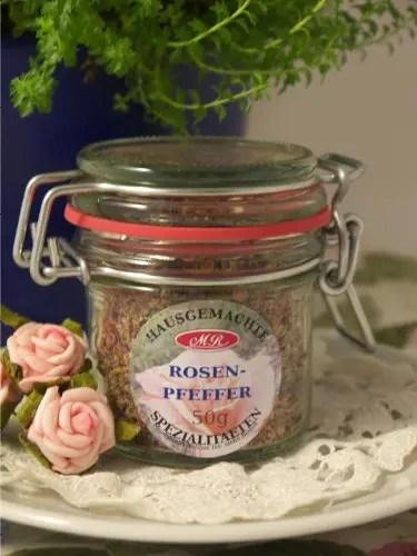 Rosen Pfeffer für Rosen-Senf-Butter