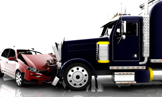 A truck and car accident
