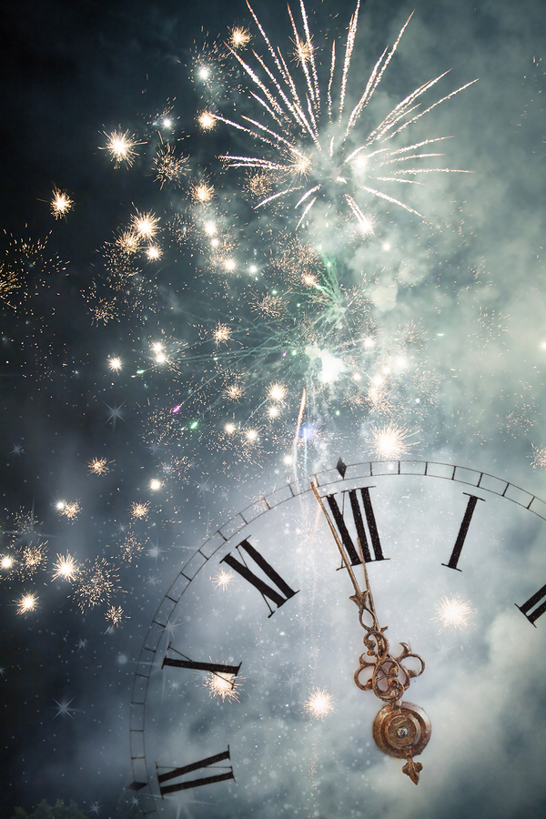 Fireworks and an old Clock