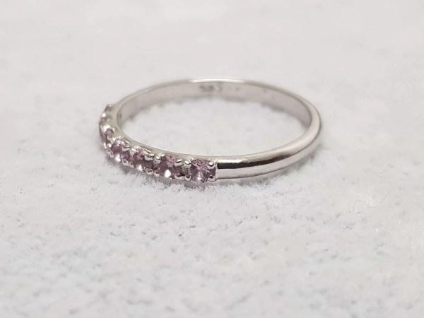 inel aur alb safir roz