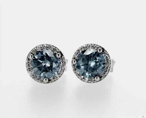 cercei aur diamante albastre