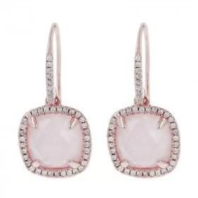 rose quart diamond gold earrings
