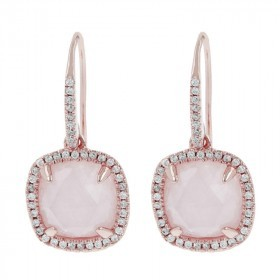 rose quart diamond gold earrings