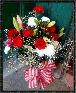 large sweetheart vase with lilies, alstromeria, carnations, and spray roses - little falls florist - delivery by Rose Petals Florist