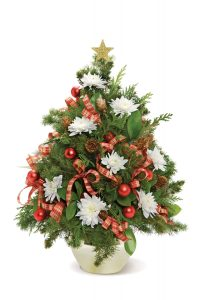Mini Christmas Tree with Floral Accents by Rose Petals Florist