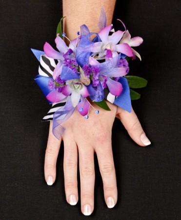 Posh Purple Orchids Prom Corsage