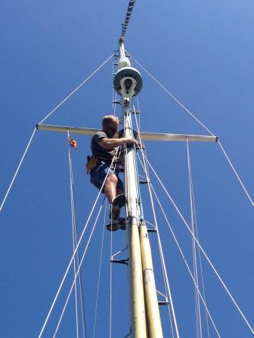 Joe goes up our mast...