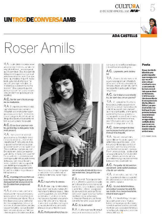 entrevista a roser amills a l avui 23 12 2010 per ada castells