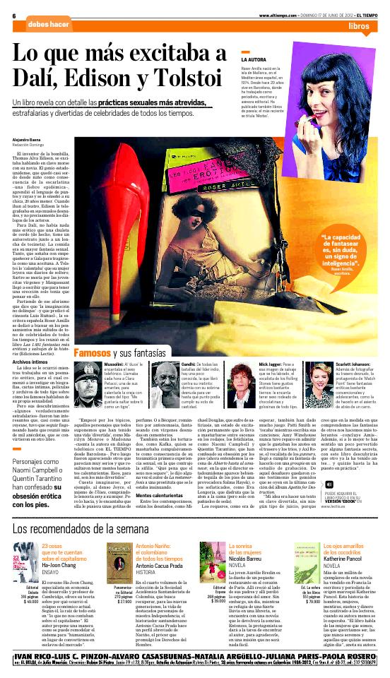 fantasias eroticas diario tiempo colombia autora roser amills