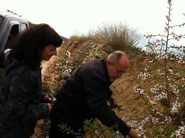 bigas luna y roser amills recogiendo flores de almendro