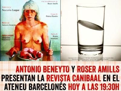 Antonio Beneyto y Roser Amills presentan la revista Canibaal en el Ateneu Barcelonés (a las 19:30h en C/ Canuda nº 6 – 5ª planta)