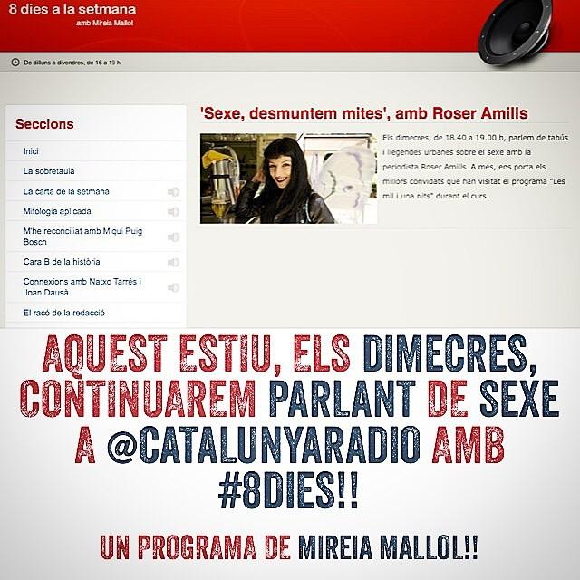 Dimecres tenim una cita a #8dies de @catalunyaradio i parlem de tatuatges eròtics!! No hi falteu!! A les 18:45h en directe :))