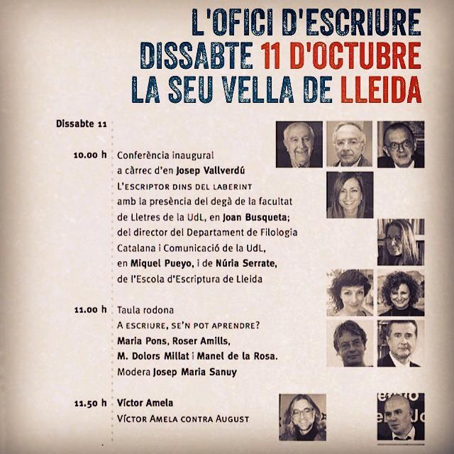 Dissabte 11 d'octubre tenim una cita a #Lleida amb l'escriptura, vindràs? ;))