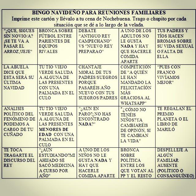 Jajaja, cartón de bingo para que vayas equipado a las comidas y cenas navideñas que se avecinan